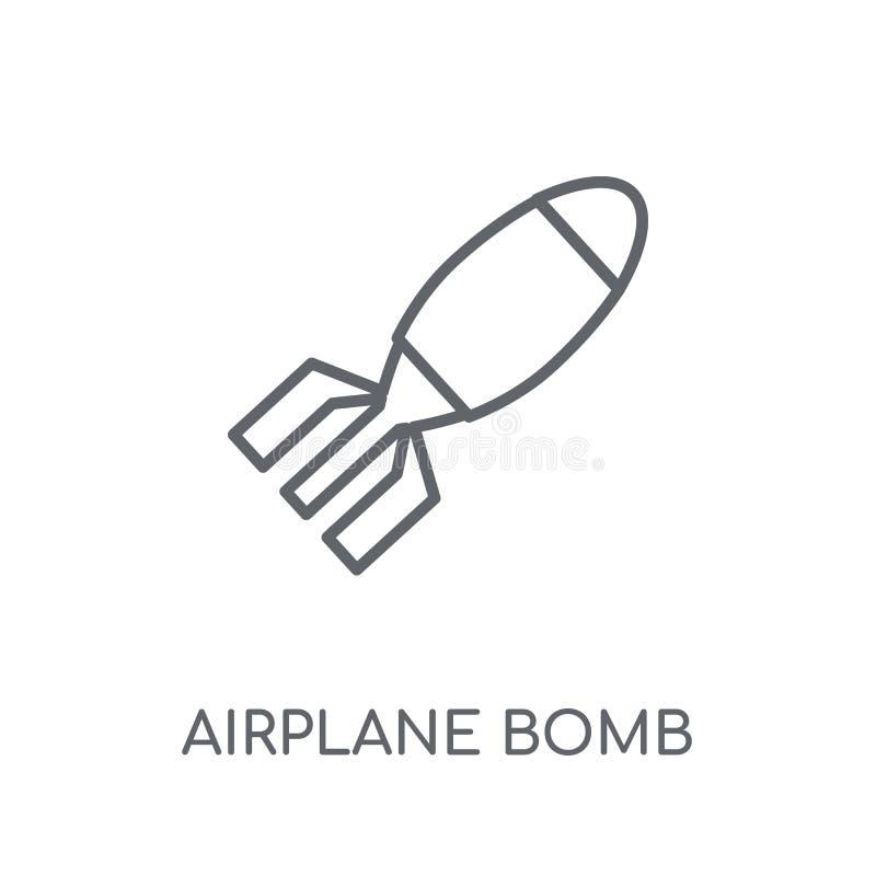 Icono linear de la bomba del aeroplano Estafa moderna del logotipo de la bomba del aeroplano del esquema libre illustration