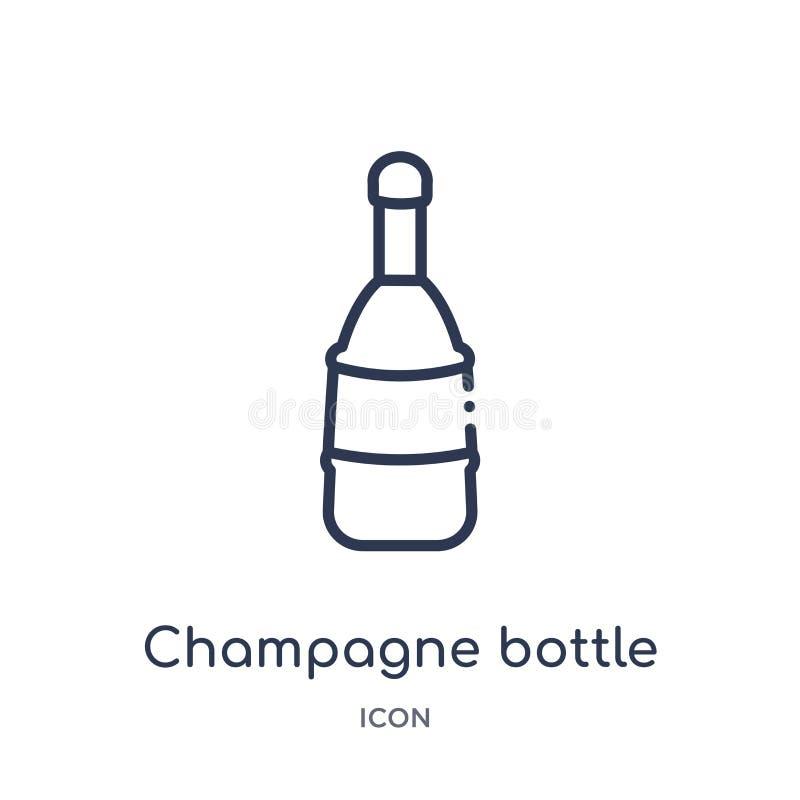 Icono linear de la botella del champán de la colección del esquema de la comida Línea fina icono de la botella del champán aislad stock de ilustración