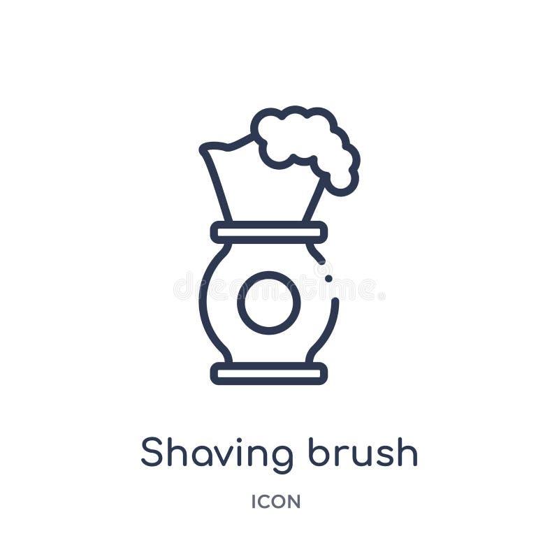 Icono linear de la brocha de afeitar de la colección del esquema de la belleza Línea fina vector de la brocha de afeitar aislado  stock de ilustración