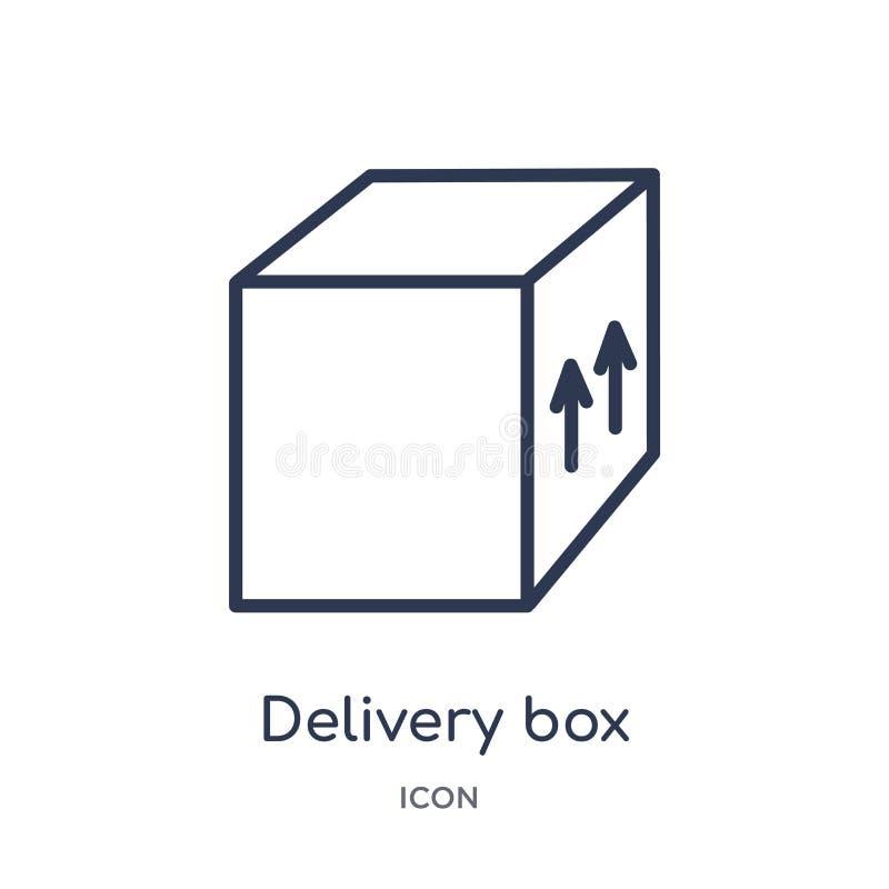 Icono linear de la caja de la entrega de la entrega y de la colección logística del esquema Línea fina vector de la caja de la en stock de ilustración