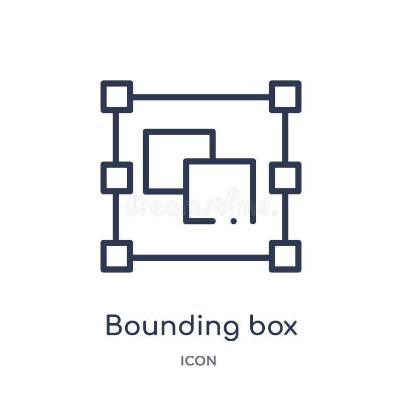 Icono linear de la caja de limitación de la figura geométrica colección del esquema Línea fina icono de la caja de limitación ais libre illustration