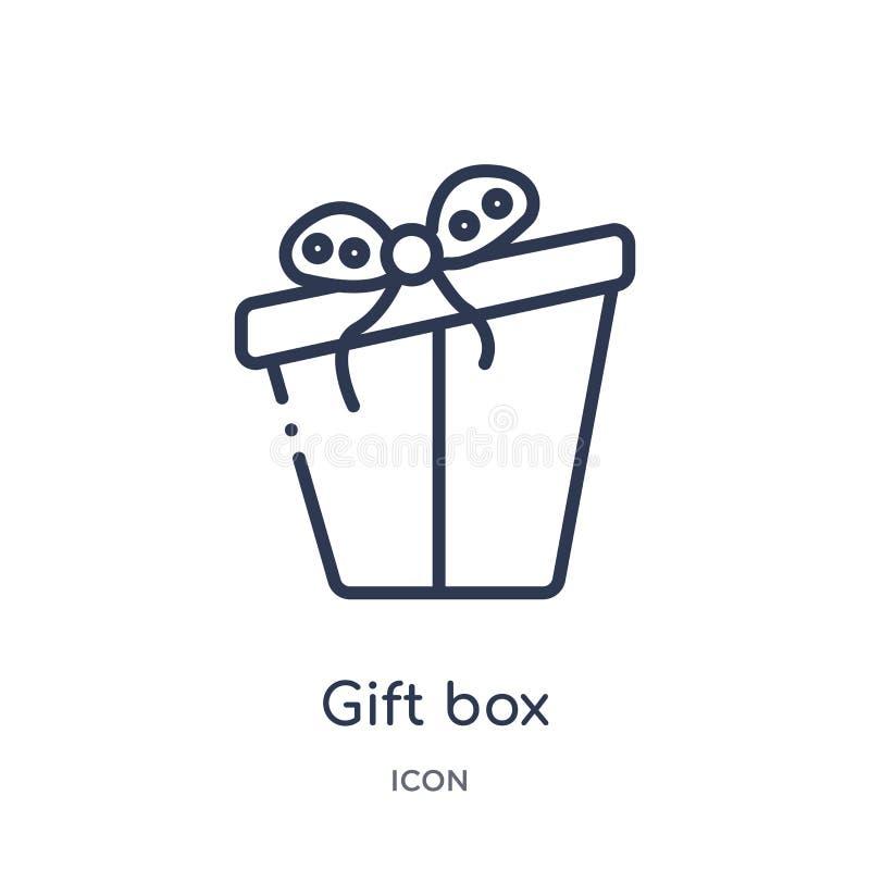 Icono linear de la caja de regalo de la colección del esquema de la Navidad Línea fina vector de la caja de regalo aislado en el  ilustración del vector