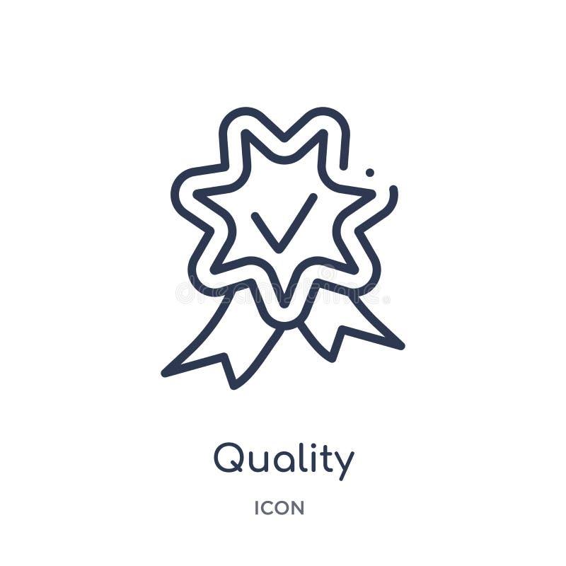 Icono linear de la calidad de la colección del esquema del servicio de atención al cliente Línea fina vector de la calidad aislad stock de ilustración
