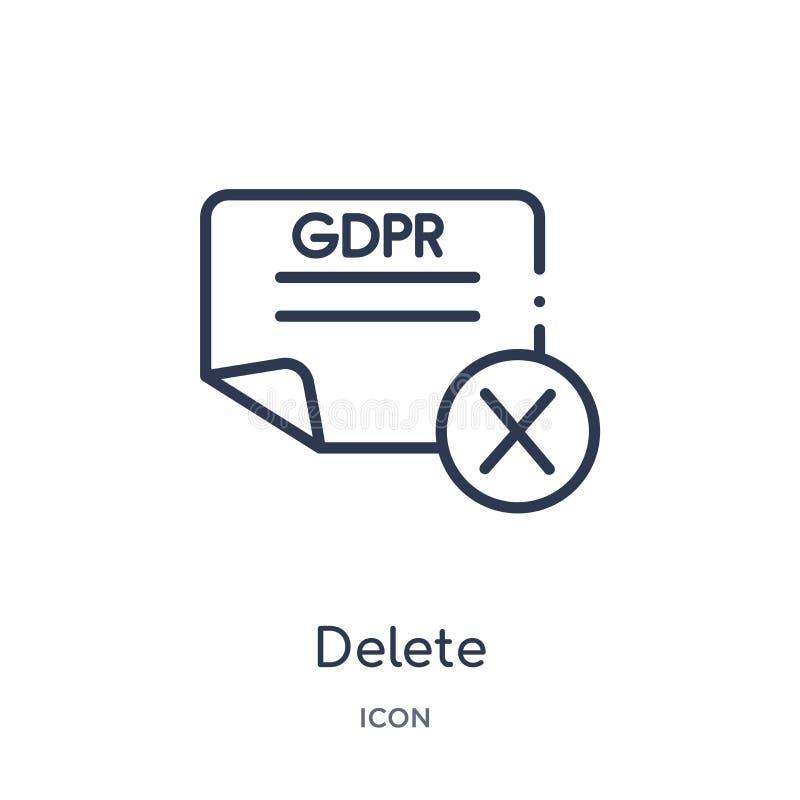 Icono linear de la cancelación de la colección del esquema de Gdpr Línea fina icono de la cancelación aislado en el fondo blanco  libre illustration