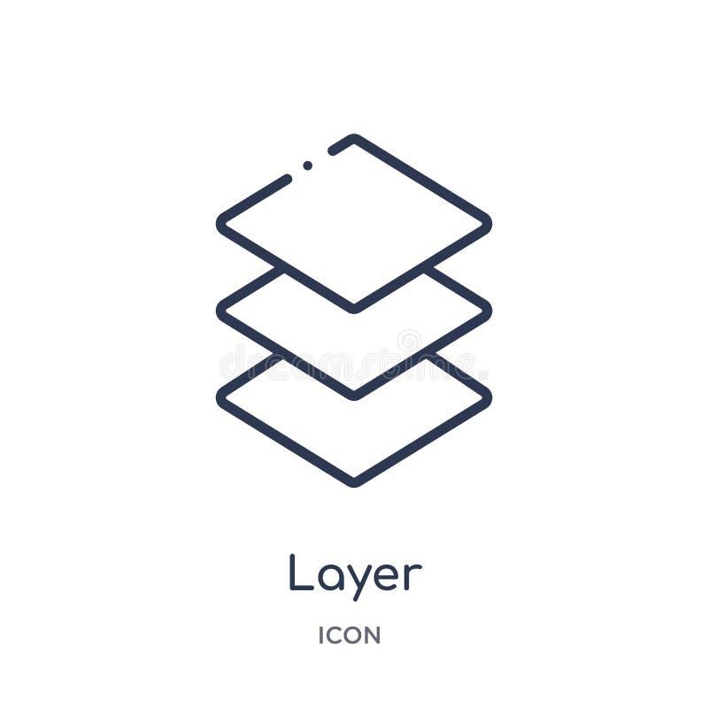 Icono linear de la capa de la colección del esquema de la geometría Línea fina icono de la capa aislado en el fondo blanco ejempl stock de ilustración