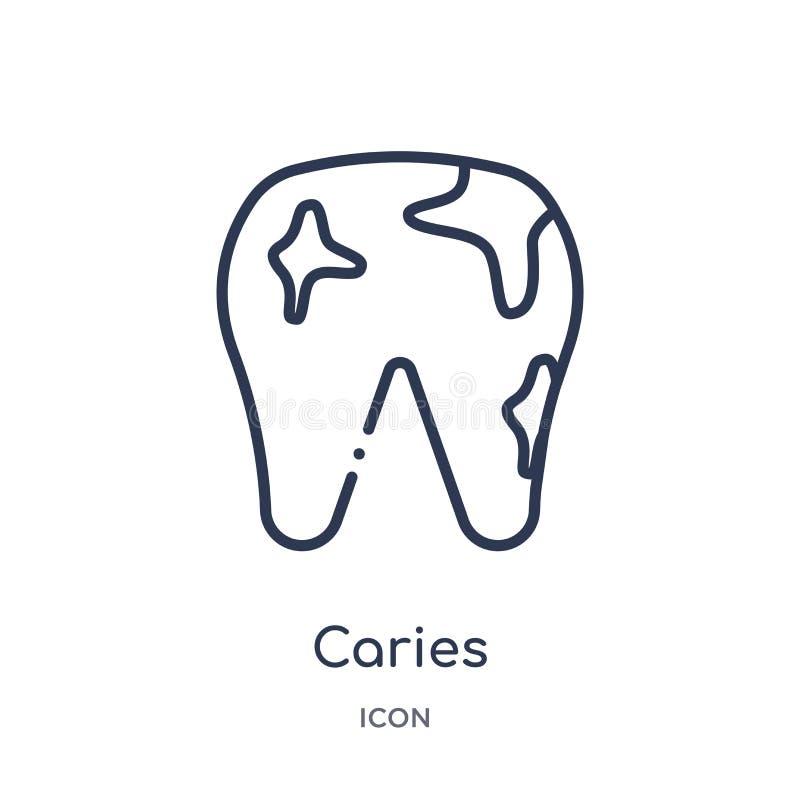Icono linear de la carie de la colección médica del esquema Línea fina icono de la carie aislado en el fondo blanco ejemplo de stock de ilustración
