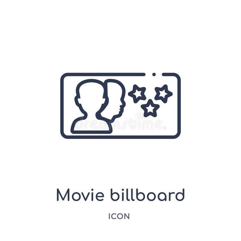 Icono linear de la cartelera de la película de la colección del esquema del cine Línea fina vector de la cartelera de la película stock de ilustración