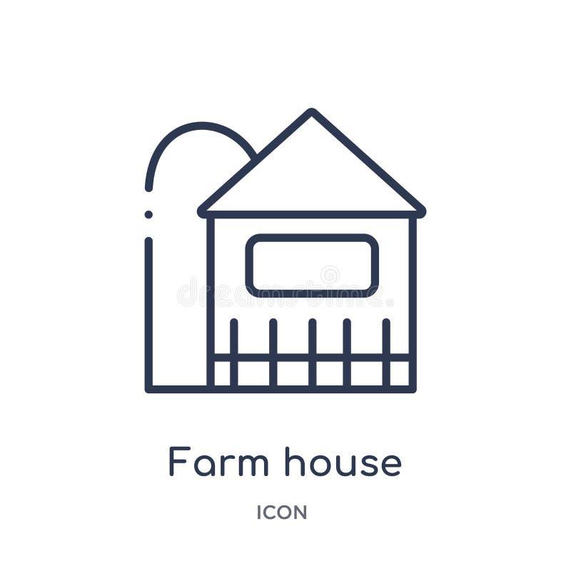 Icono linear de la casa de la granja de la colección agrícola y que cultiva un huerto de la agricultura del esquema Línea fina ve ilustración del vector