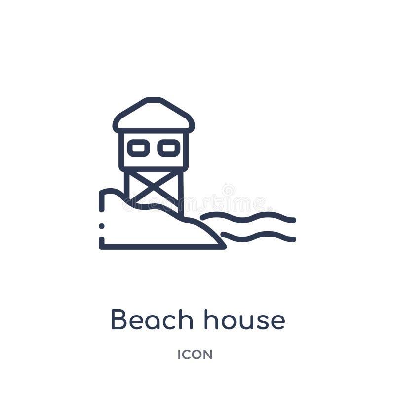 Icono linear de la casa de playa de la colección del esquema de los días de fiesta Línea fina icono de la casa de playa aislado e libre illustration