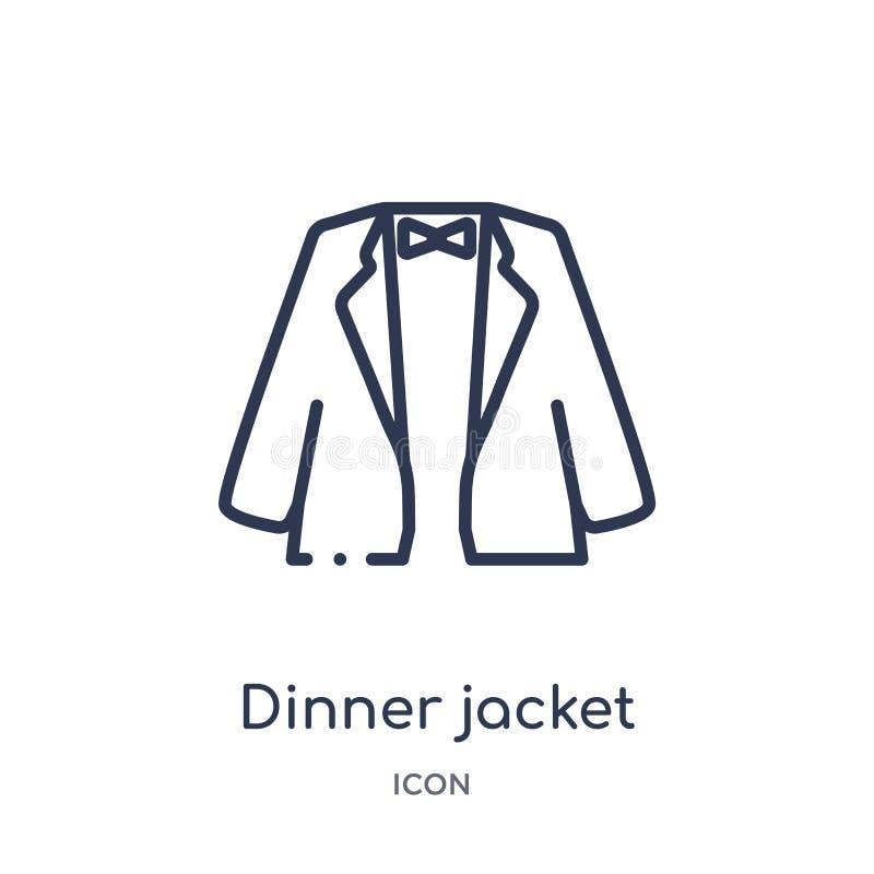 Icono linear de la chaqueta de cena de la colección del esquema de la ropa Línea fina vector de la chaqueta de cena aislado en el ilustración del vector