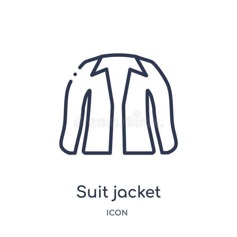 Icono linear de la chaqueta del traje de la colección del esquema de la ropa Línea fina vector de la chaqueta del traje aislado e stock de ilustración