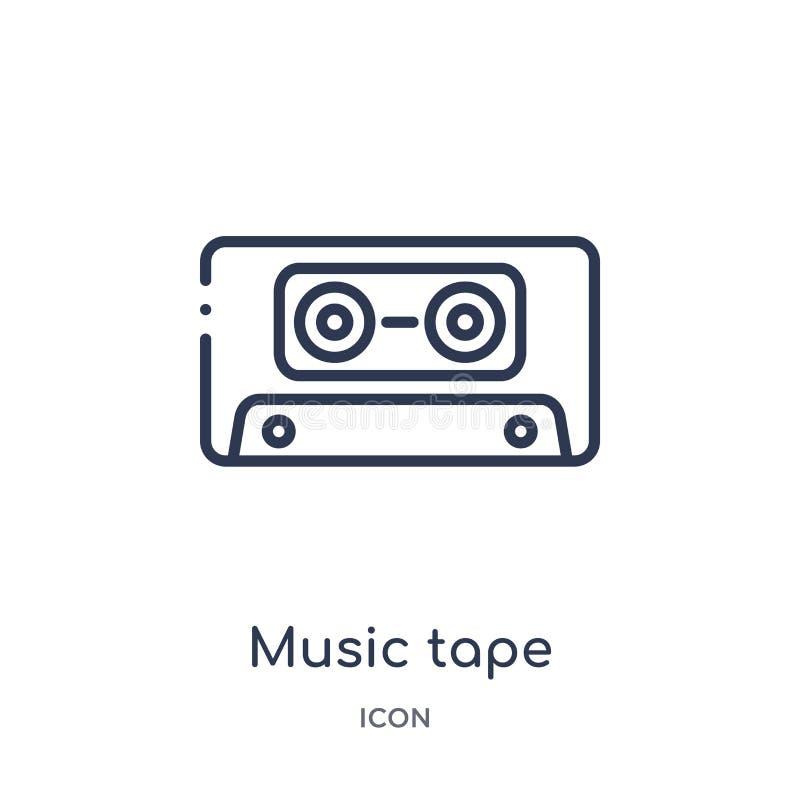 Icono linear de la cinta de la música del entretenimiento y de la colección del esquema de la arcada Línea fina vector de la cint stock de ilustración