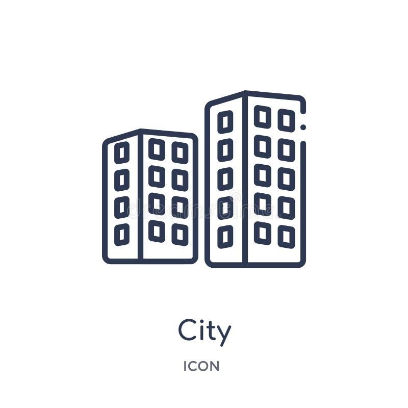 Icono linear de la ciudad de la colección del esquema de los éticas Línea fina vector de la ciudad aislado en el fondo blanco eje libre illustration
