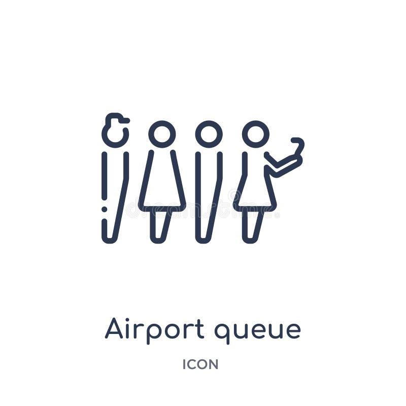 Icono linear de la cola del aeropuerto de la colección del esquema del terminal de aeropuerto Línea fina vector de la cola del ae libre illustration
