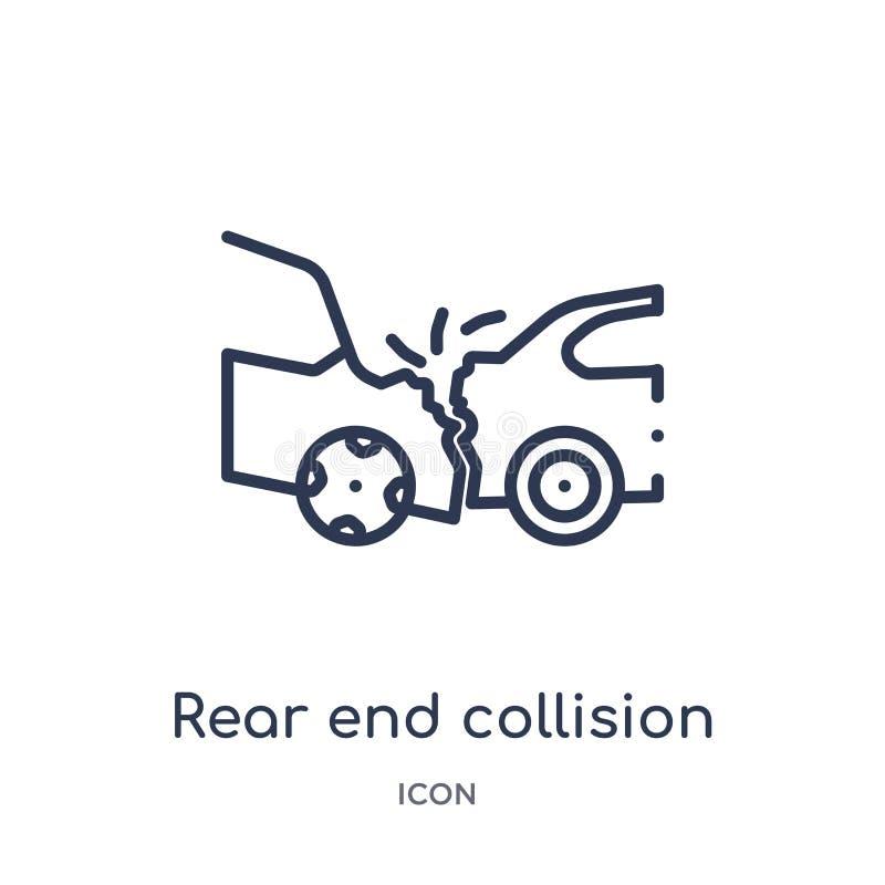 Icono linear de la colisión del final posterior de la colección del esquema del seguro Línea fina icono de la colisión del final  stock de ilustración