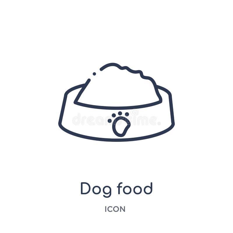 Icono linear de la comida de perro de la colección del esquema de la comida Línea fina icono de la comida de perro aislado en el  libre illustration