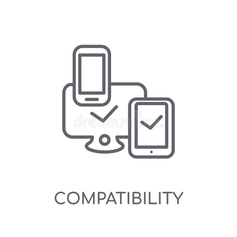 icono linear de la compatibilidad Estafa moderna del logotipo de la compatibilidad del esquema libre illustration