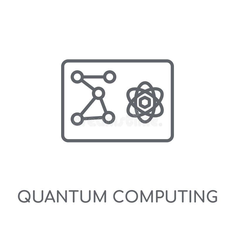 Icono linear de la computación de Quantum Computación de Quantum moderna del esquema ilustración del vector