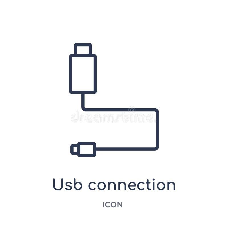 Icono linear de la conexión USB de la colección electrónica del esquema del terraplén de la materia Línea fina vector de la conex libre illustration