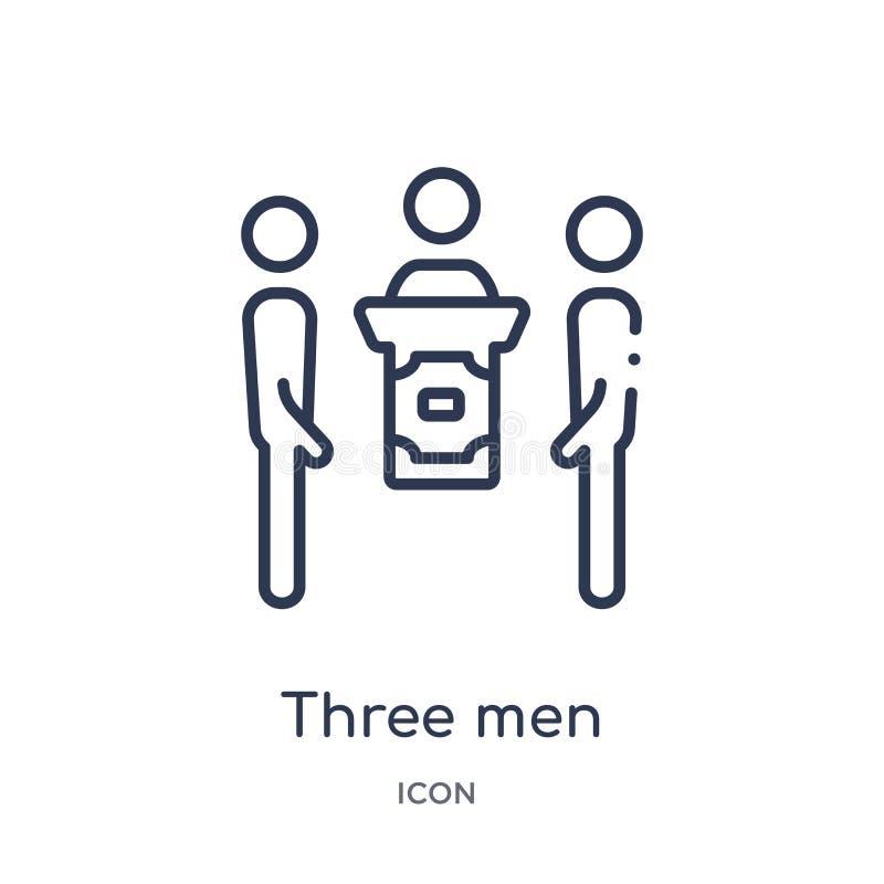 Icono linear de la conferencia de tres hombres de la colección del esquema del comportamiento Línea fina tres vector de la confer stock de ilustración