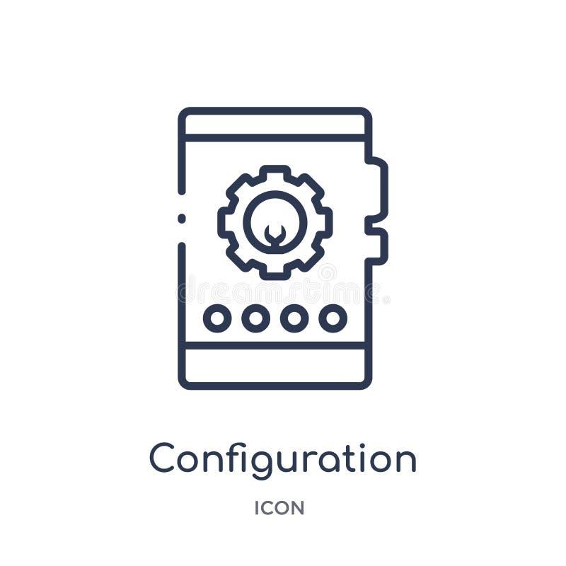 Icono linear de la configuración de la colección del esquema del márketing Línea fina icono de la configuración aislado en el fon libre illustration