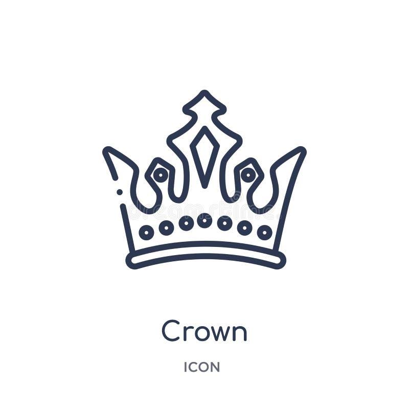 Icono linear de la corona de la colección de lujo del esquema Línea fina icono de la corona aislado en el fondo blanco ejemplo de ilustración del vector
