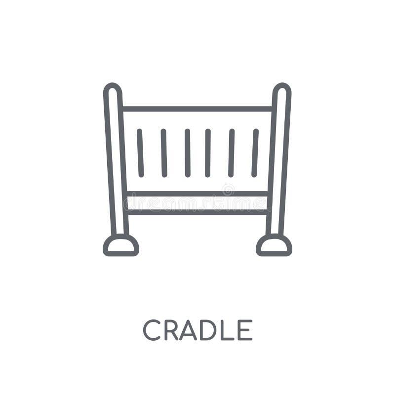 Icono linear de la cuna Concepto moderno del logotipo de la cuna del esquema en blanco libre illustration