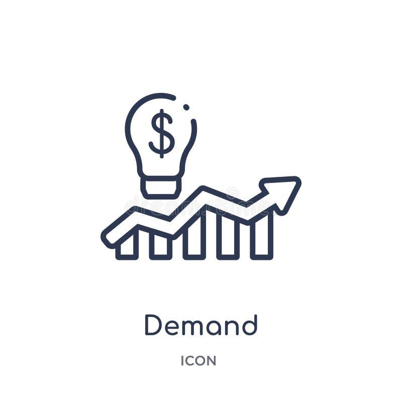 Icono linear de la demanda de la colección del esquema del márketing Línea fina icono de la demanda aislado en el fondo blanco de stock de ilustración