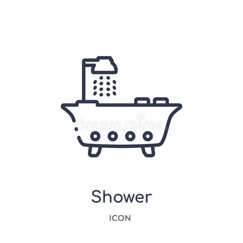 Icono linear de la ducha de la colección de limpieza del esquema Línea fina vector de la ducha aislado en el fondo blanco ducha d ilustración del vector