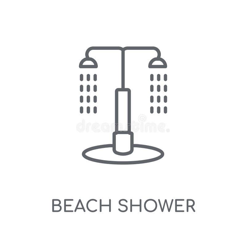 icono linear de la ducha de la playa Conce moderno del logotipo de la ducha de la playa del esquema stock de ilustración