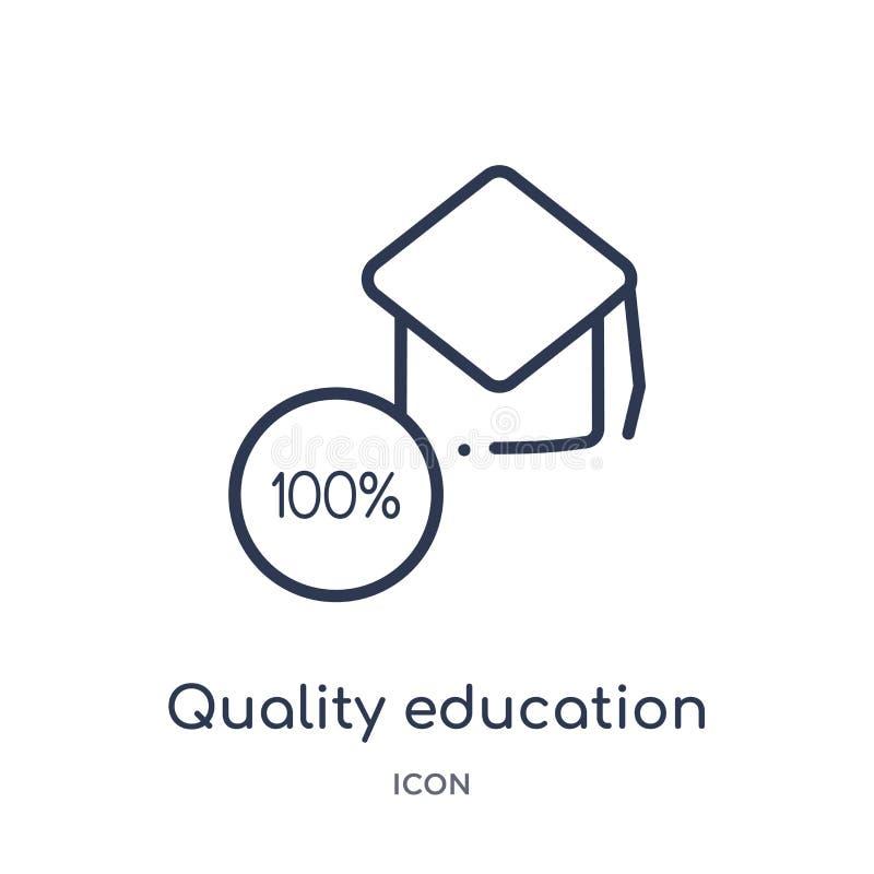 Icono linear de la educación de la calidad de la colección del esquema de la educación Línea fina icono de la educación de la cal stock de ilustración
