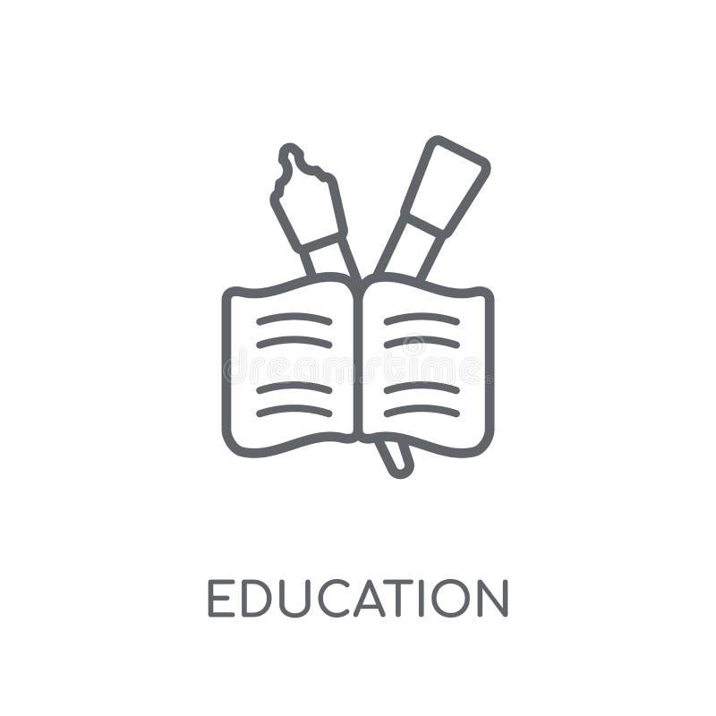Icono linear de la educación Concepto moderno del logotipo de la educación del esquema encendido stock de ilustración