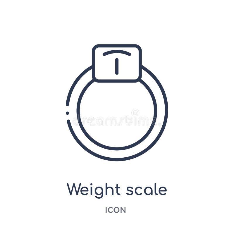 Icono linear de la escala del peso de la colección del esquema del equipo del gimnasio Línea fina icono de la escala del peso ais stock de ilustración