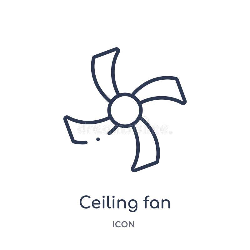 Icono linear de la fan de techo de la colección del esquema de los dispositivos electrónicos Línea fina vector de la fan de techo stock de ilustración