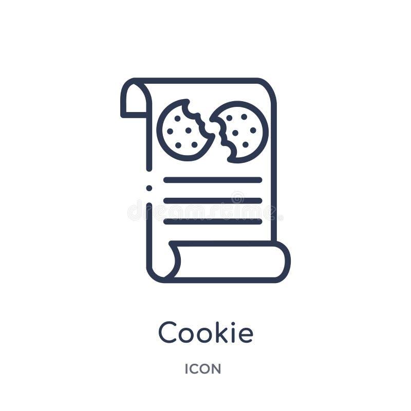 Icono linear de la galleta de la colección del esquema de Gdpr Línea fina icono de la galleta aislado en el fondo blanco ejemplo  stock de ilustración