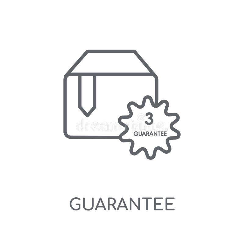 Icono linear de la garantía Concepto moderno del logotipo de la garantía del esquema encendido ilustración del vector