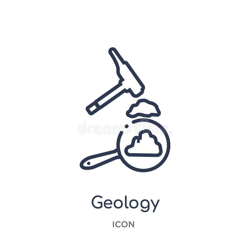 Icono linear de la geología de la colección del esquema del Elearning y de la educación Línea fina vector de la geología aislado  stock de ilustración