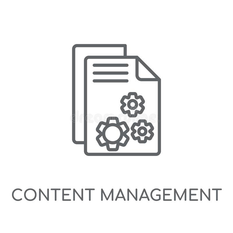 Icono linear de la gestión del contenido Contenido moderno Managemen del esquema ilustración del vector