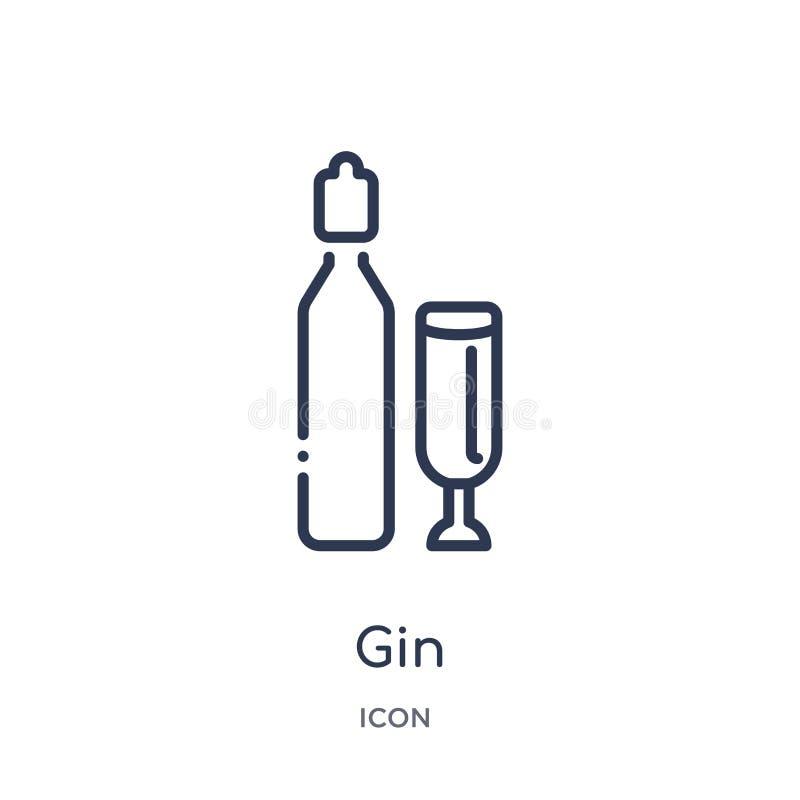Icono linear de la ginebra de la colección del esquema de la gastronomía Línea fina icono de la ginebra aislado en el fondo blanc libre illustration
