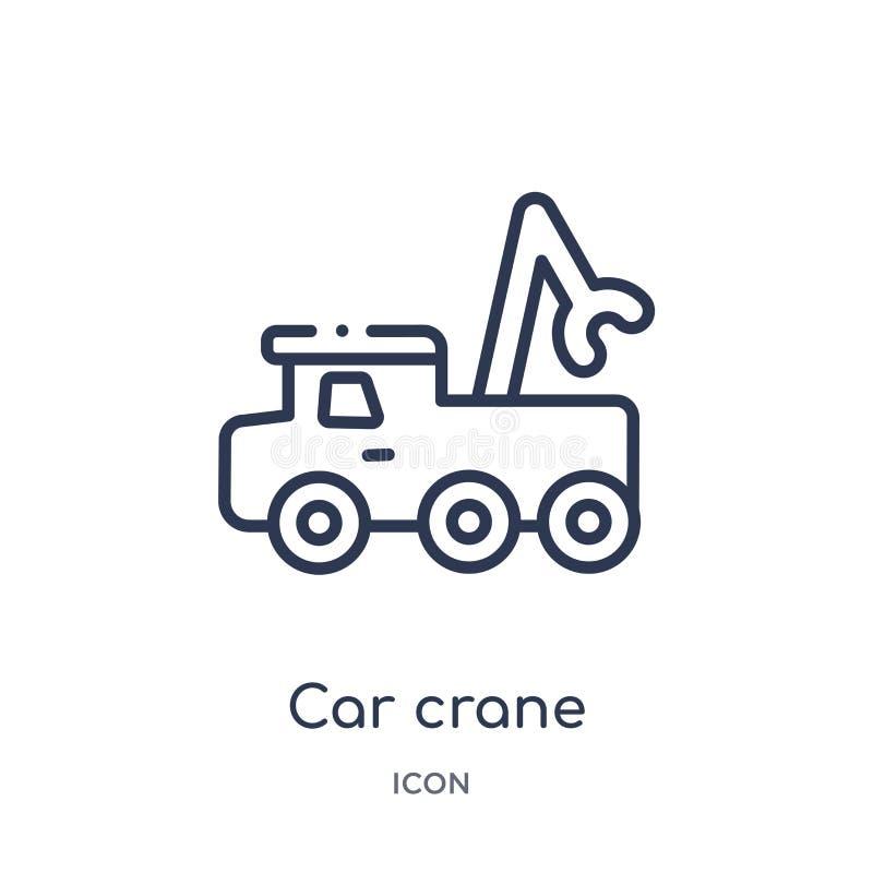 Icono linear de la grúa del coche de la colección del esquema de Mechanicons Línea fina icono de la grúa del coche aislado en el  stock de ilustración