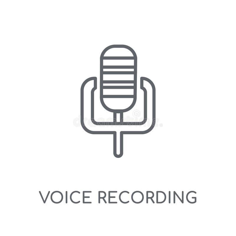 Icono linear de la grabación de la voz Logotipo moderno de la grabación de la voz del esquema ilustración del vector