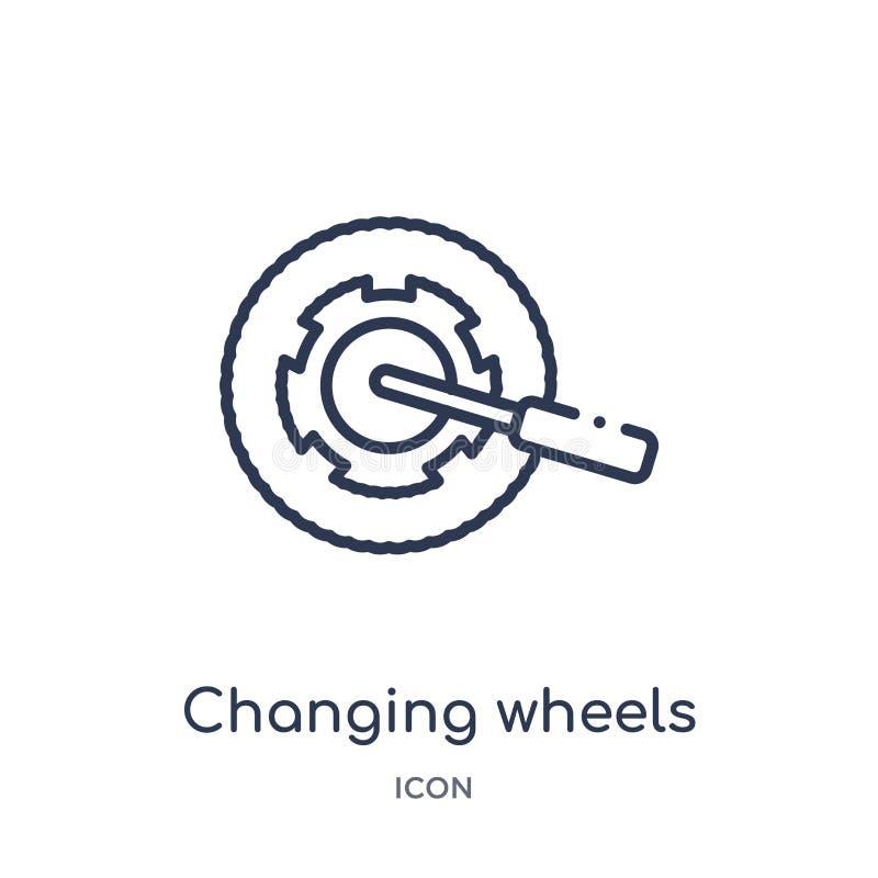 Icono linear de la herramienta de las ruedas de cambio de la colección del esquema de Mechanicons Línea fina icono de la herramie stock de ilustración