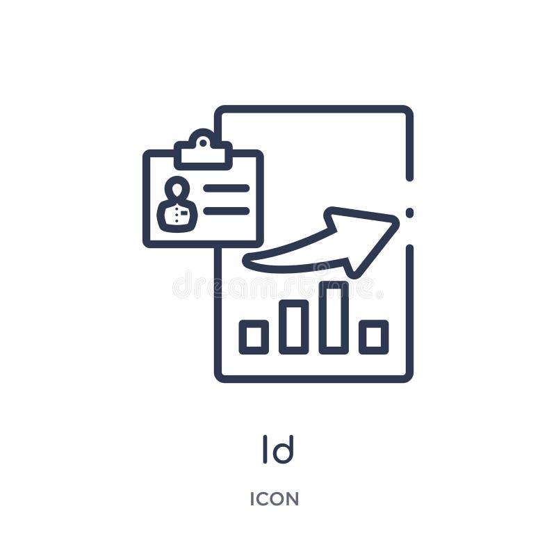 Icono linear de la identificación de la colección del esquema del márketing Línea fina icono de la identificación aislado en el f ilustración del vector