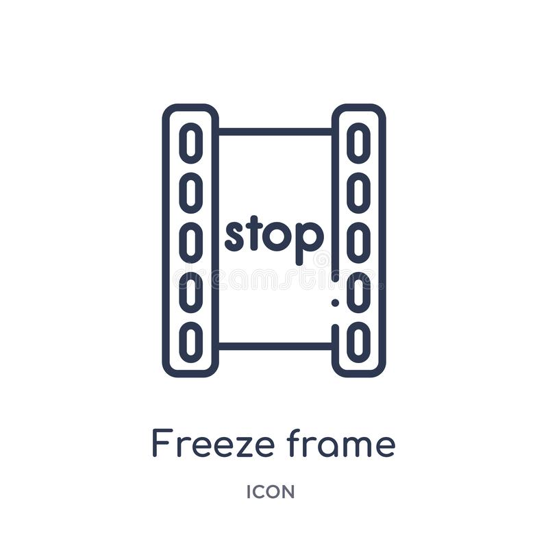 Icono linear de la imagen congelada de la colección del esquema del cine Línea fina vector de la imagen congelada aislado en el f libre illustration