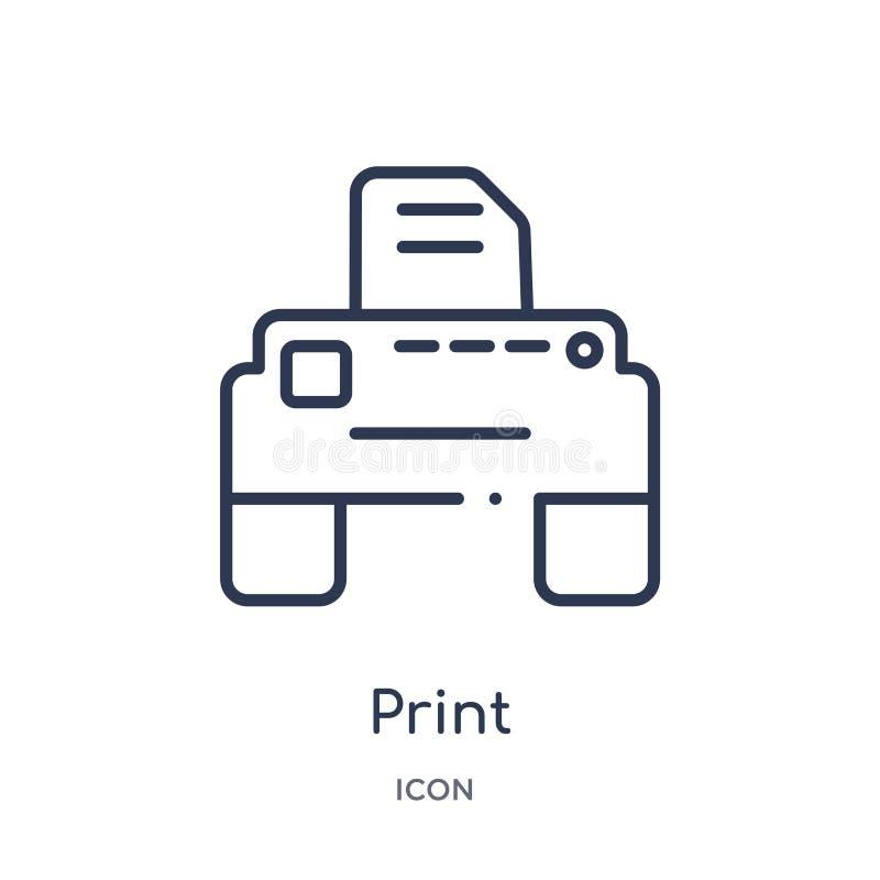 Icono linear de la impresión de la colección del esquema de las conexiones de Electrian Línea fina vector de la impresión aislado stock de ilustración
