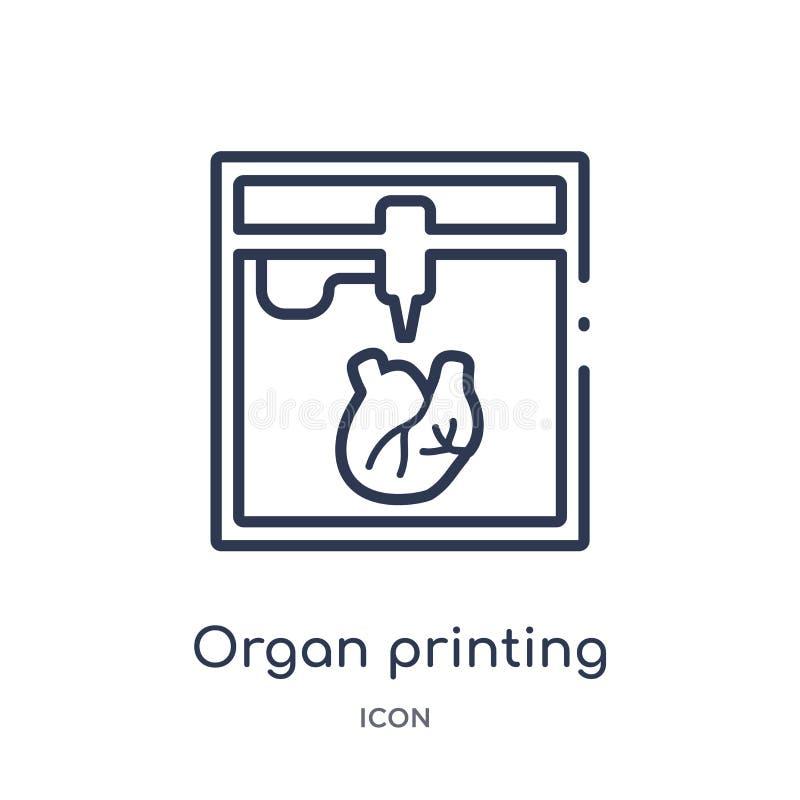 Icono linear de la impresión del órgano del intellegence artificial y de la colección futura del esquema de la tecnología Línea f libre illustration