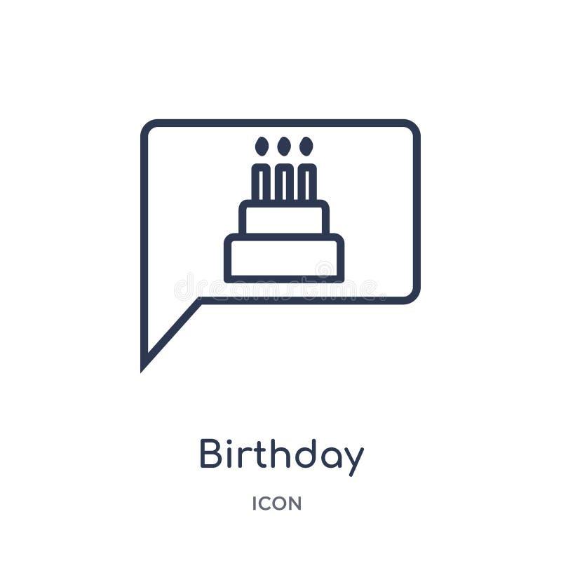 Icono linear de la invitación del cumpleaños de la colección del esquema de la fiesta de cumpleaños Línea fina vector de la invit ilustración del vector