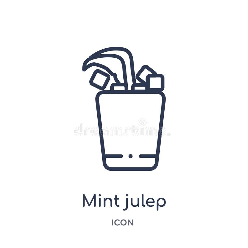 Icono linear de la julepe de menta de la colección del esquema de las bebidas Línea fina vector de la julepe de menta aislado en  ilustración del vector