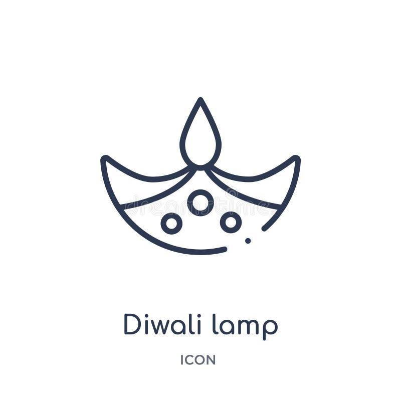 Icono linear de la lámpara del diwali de la colección del esquema de la India Línea fina icono de la lámpara del diwali aislado e stock de ilustración