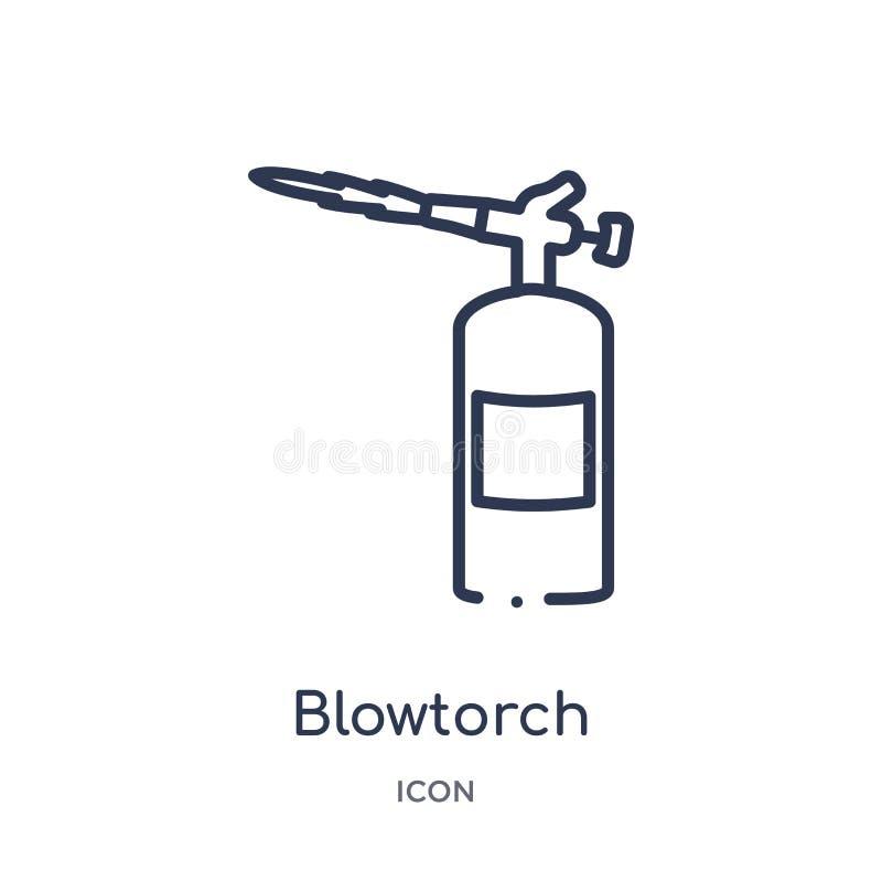 Icono linear de la lámpara de soldar de la colección del esquema de las herramientas de la construcción Línea fina vector de la l libre illustration